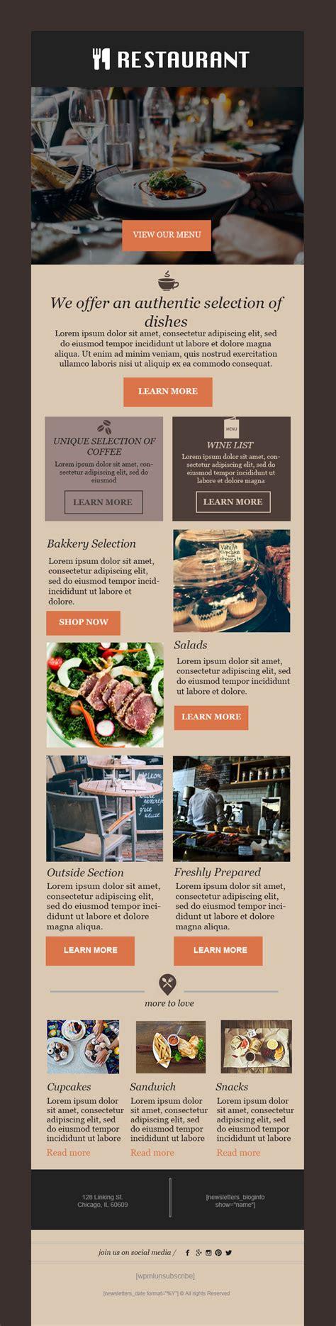 restaurant newsletter template restaurant newsletter template