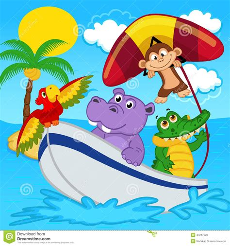 animal cartoon on boat animals on boat ride with monkey on hang glider stock