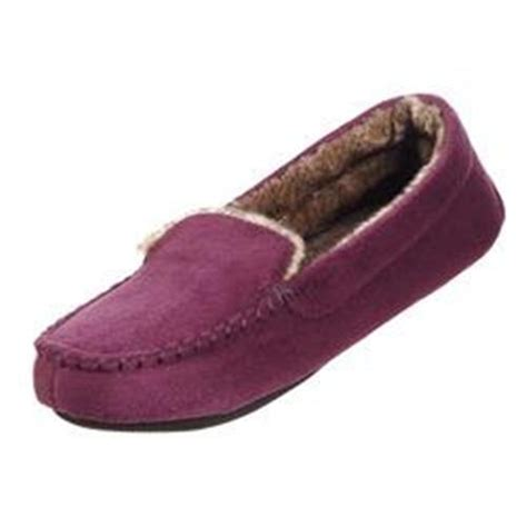 isotoner house shoes isotoner vino plum microsuede fleece lined mocassin house slippers memory foam ebay