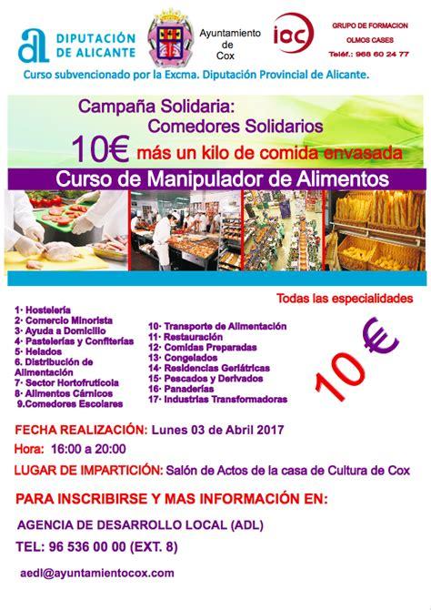 curso manipulador alimentos curso manipulador de alimentos ayuntamiento de cox