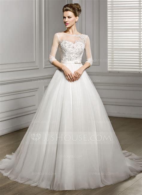 wedding dress a line princess scoop neck court tulle wedding dress