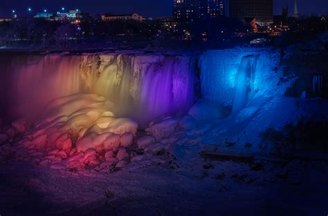 niagara falls night niagara falls at night and almost frozen another angle