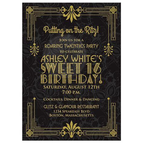 Sweet 16 Invitations by Sweet 16 Birthday Invitation Roaring 20s Deco Black Gold