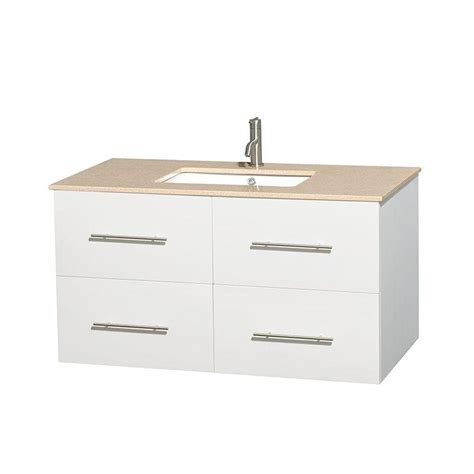 42 Vanity Top by Wyndham Collection Centra 42 In Vanity In White With Marble Vanity Top In Ivory And Undermount