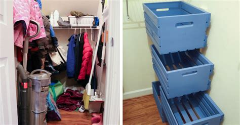 Cluttered Closet by Transform Your Cluttered Closet With These Diy Mounted Drawers