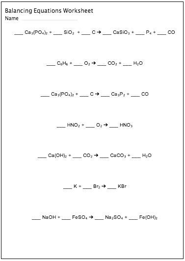 Chemistry Equations Worksheet by Balancing Chemical Equations Worksheet Maker