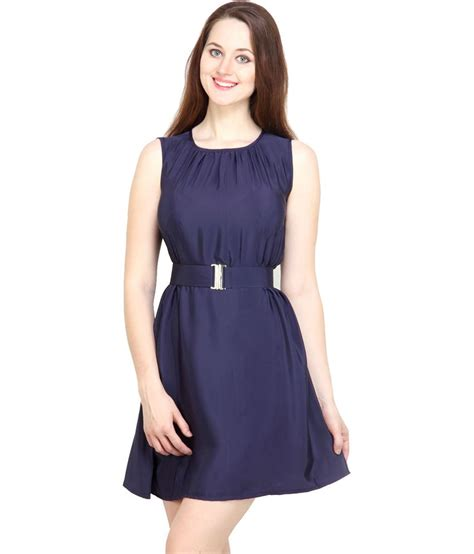 N Y Top tops and tunics navy blue crepe casual mini dress buy
