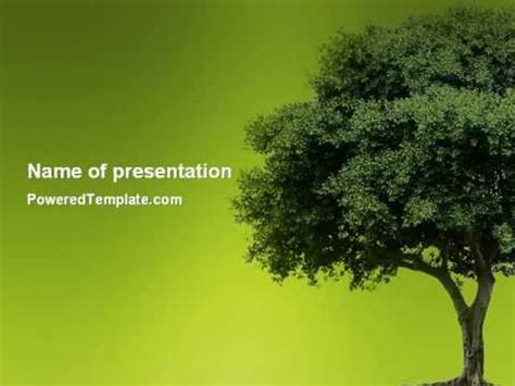 Tree Template For Powerpoint by Green Tree On Light Olive Background Powerpoint Template