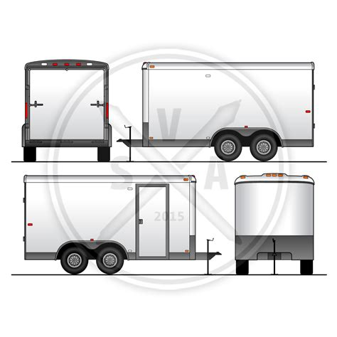 Utility Trailer Vehicle Outline Stock Vector Art Trailer Wrap Design Templates