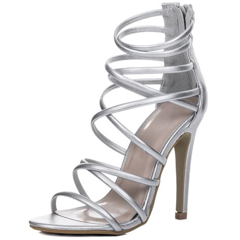 silver heeled sandals uzi silver sandals shoes from spylovebuy