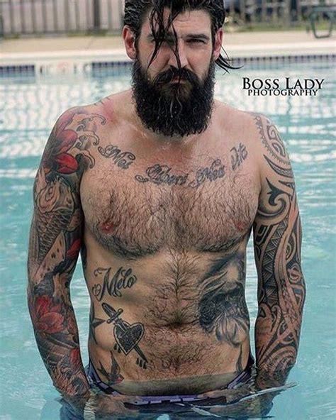 tattoo under chest hair jerry melo full thick black beard mustache beards