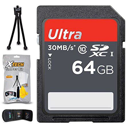 64gb sd memory card (high speed) + xtech starter kit for