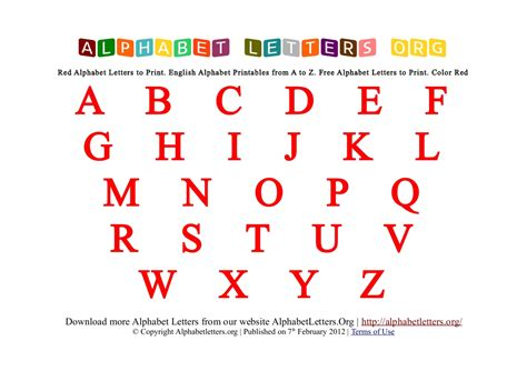 printable red alphabet alphabet letters printable red
