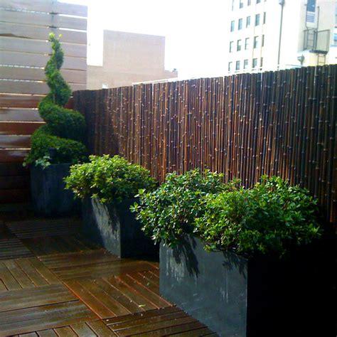 tribeca nyc roof garden deck bamboo fence container garden terrace planter contemporary