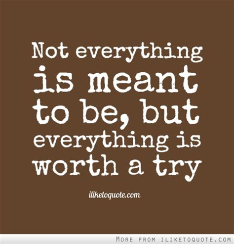 quot everything is not what not everything is meant to be but everything is worth a try