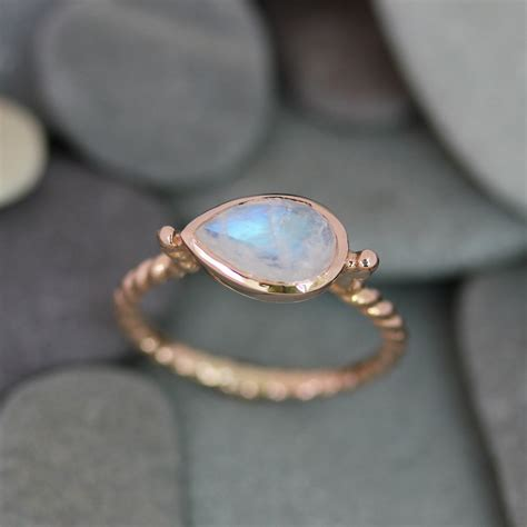 Moonstone Ring rainbow moonstone ring pear shaped ring birthstone jewelry