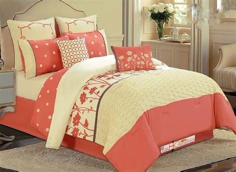 salmon colored bedding 8p floral garden ruffle comforter set salmon pinkish
