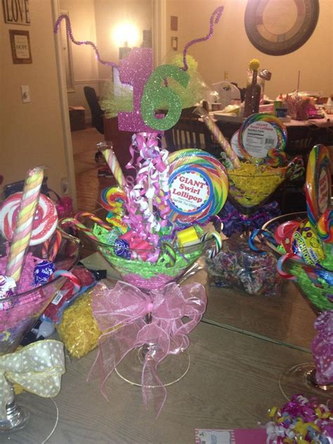 candyland centerpieces martini glass centerpiece sweet 16 land theme martini glass