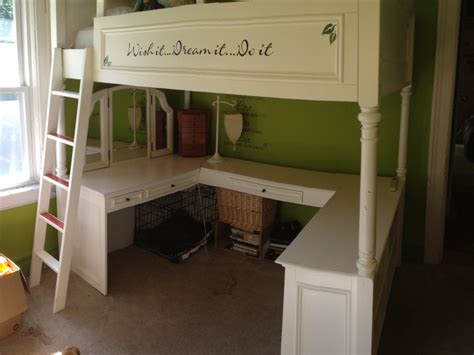girls loft bed with a desk and vanity wonderful pb teens loft bed for quick and discounted sale