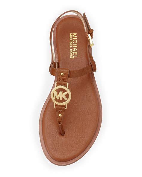 michael kors sandal michael michael kors logo sandal in brown lyst