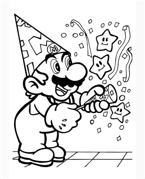 happy birthday mario coloring pages mario coloring pages free coloring pages free