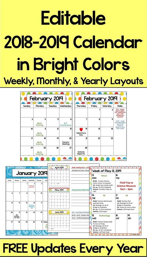 calendar printable  editable   updates  bright colors school calendar