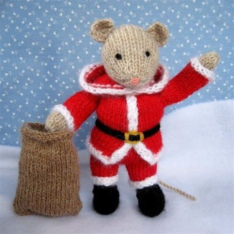 knitting pattern christmas mouse santa mouse knitted toy doll or festive ornament
