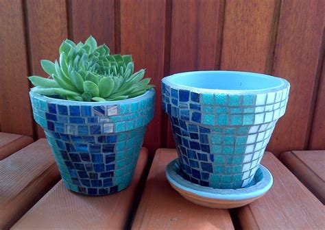 herb garden kit gift with tile mosaic pots blue white or