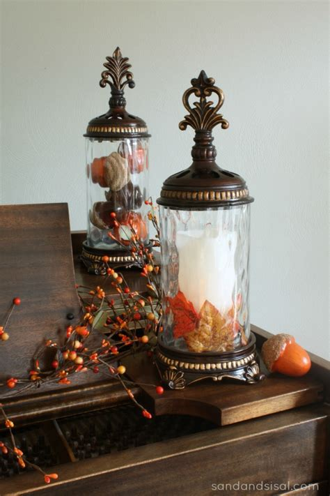simple fall decorating sand and sisal