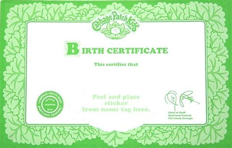 doll birth certificate template printable cabbage patch birth certificate cabbage patch