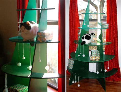 diy climbable christmas tree for cats hauspanther