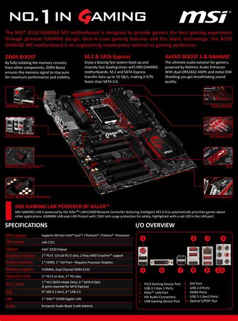 Motherboard Msi B150 Gaming M3 msi b150 gaming m3 intel motherboard