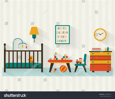 baby room clipart baby room with furniture nursery and playroom interior flat style vector illustration