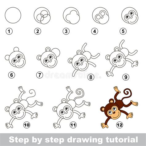 tutorial illustrator monkey drawing tutorial how to draw a funny monkey stock vector