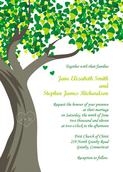 printable wedding invitations tree wedding invitation wording wedding invitation templates tree