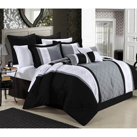 Bed Set Black Better Homes And Gardens Damask 5 Bedding Comforter Set Black Walmart