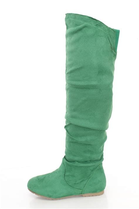 green slouchy shaft thigh high boots faux suede