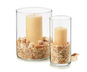 seasonal vase supplies glass vase sand shells candle