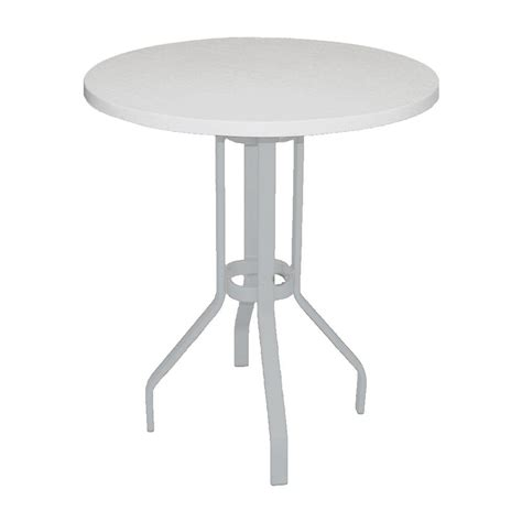 White Patio Table Marco Island 36 In White Commercial Fiberglass Top Commercial Bar Height Metal Outdoor