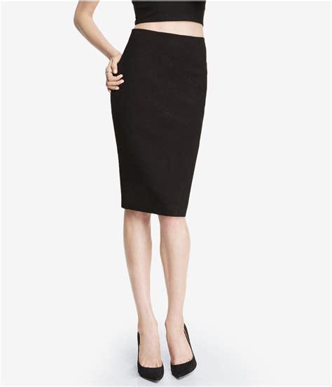 express high waist ponte knit bandage midi skirt in black