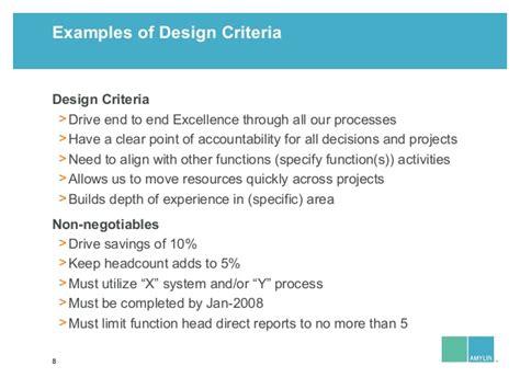 design criteria exles leland sandler organizational design amylin