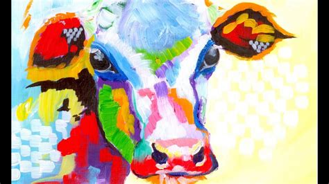 colorful cow painting colorful cow painting acrylic tutorial beginner