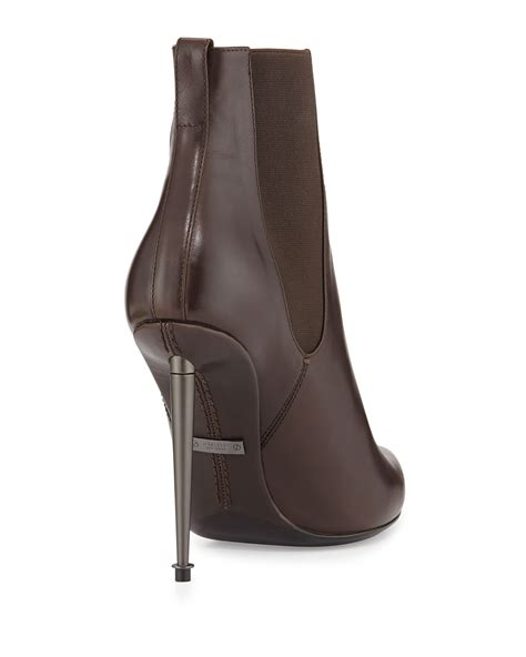 tom ford boots tom ford metal heel leather ankle boots in brown