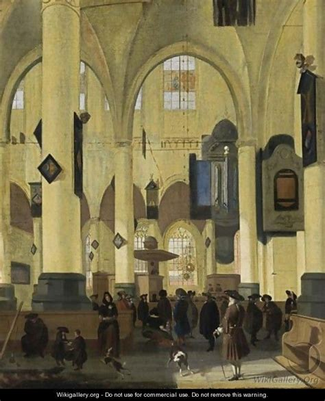 an interior of a protestant church with figures during a sermon hendrick streek