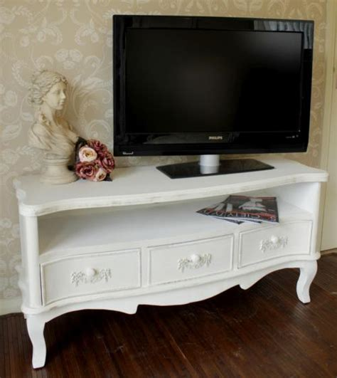 antique white tv white wooden tv unit shabby ornate chic vintage