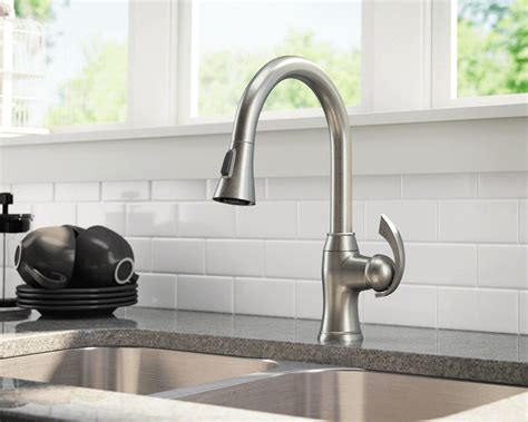 brushed nickel kitchen faucet handle simple brushed