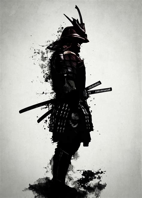 armored samurai mixed media by nicklas gustafsson