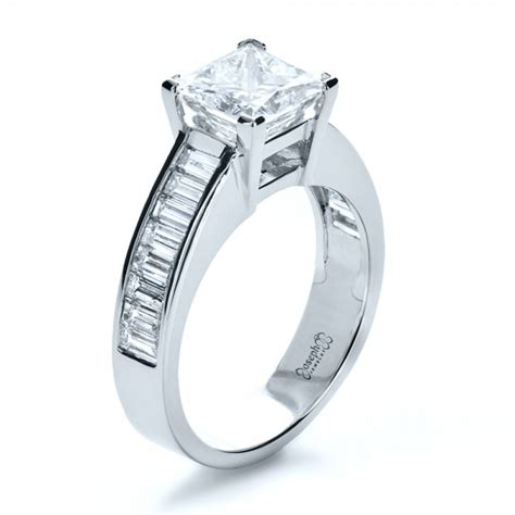 custom princess cut and baguette engagement ring 1131