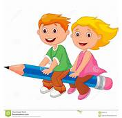 Cartoon Boy And Girl Flying On A Pencil Stock Vector