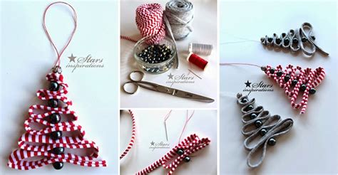 easy diy ribbon bead christmas tree ornament home